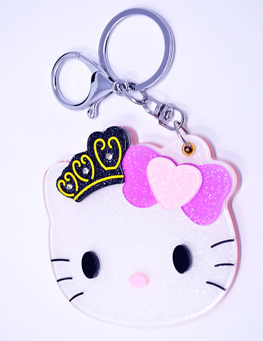 Mirror Keychain - Hello Kitty head w/ crown