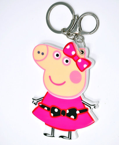 Mirror Keychain - Peppa Pig in Pink Dress