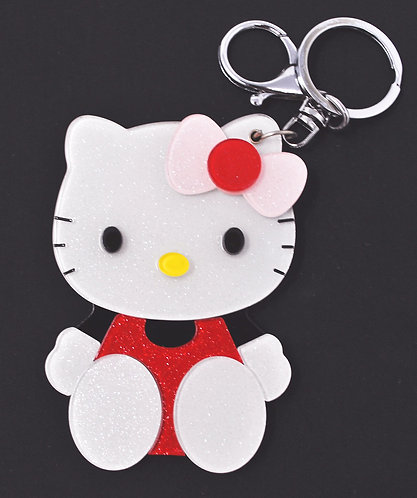 Mirror Keychain - Hello Kitty dressed in red and black