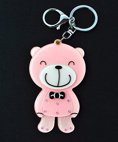 Mirror Keychain - Cute Pink Teddy Bear