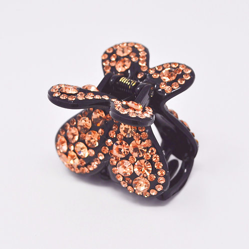 Hair Claw Clip - Hand Crafted Rhinestone Butterfly Clip - Gold