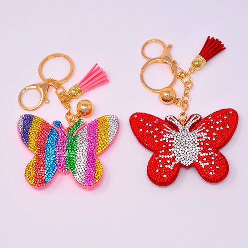 Handbag Charm Keychain - Bling Crystal Butterfly