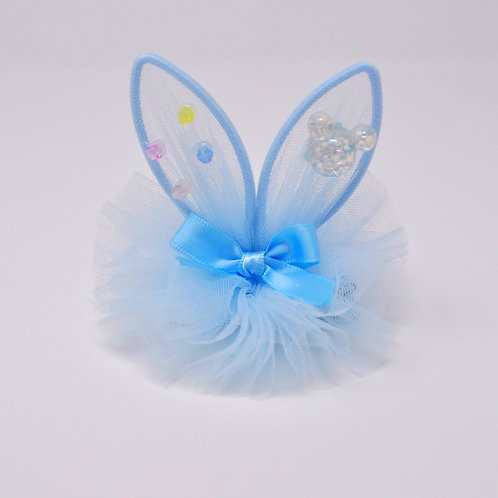 Partially Lined Alligator Clip - Mouse Charm Bunny Ears Tutu - Sky Blue