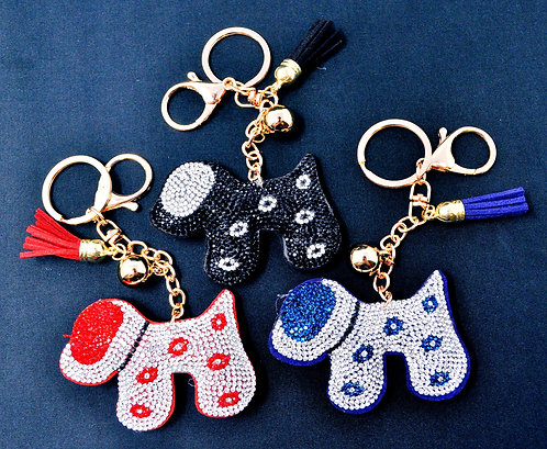 Handbag Charm Keychain - Bling Crystal Dog
