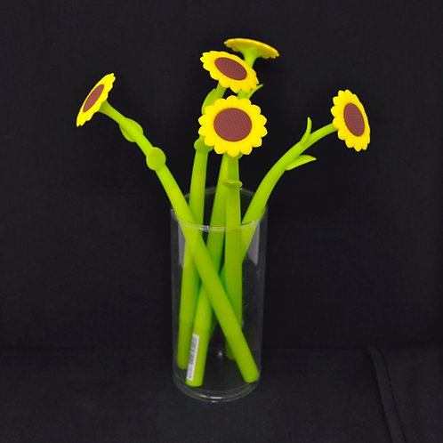 Gel Pen - Sunflower Flower - Black Ink