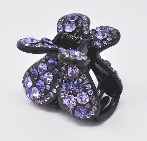 Hair Claw Clip - Hand Crafted Rhinestone Butterfly Clip - Purple