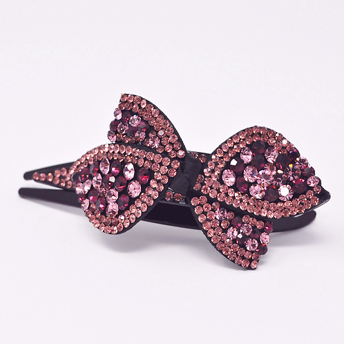 Hair Clip - Hand Crafted Rhinestone Ribbon Clip - Pink