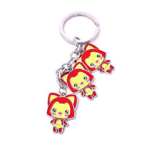 Triple Character Keychain - Shy Kitty Cat
