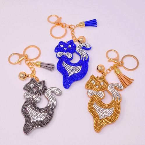 Handbag Charm Keychain - Bling Crystal Cat