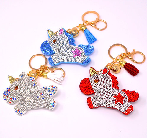 Handbag Charm Keychain - Bling Crystal Galloping Unicorn