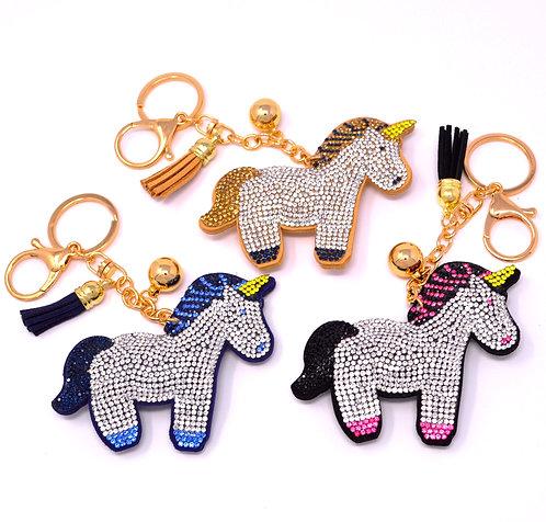 Handbag Charm Keychain - Bling Crystal Standing Unicorn