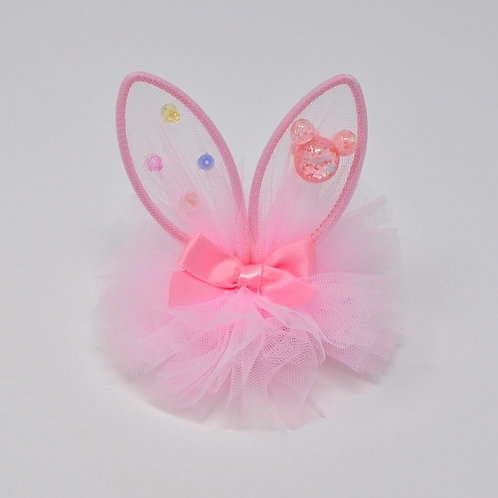 Partially Lined Alligator Clip - Mouse Charm Bunny Ears Tutu - Pink