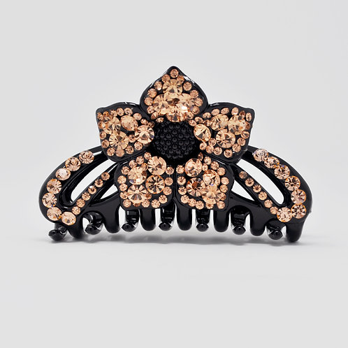 Hair Claw Clip - Hand Crafted Large Flower Rhinestone Clip -Gold