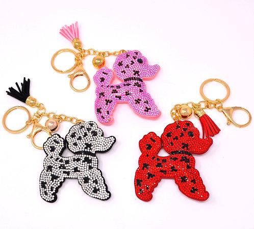 Handbag Charm Keychain - Bling Crystal Poodle