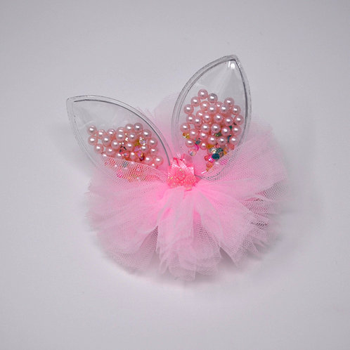 Partially Lined Alligator Clip - Mini Pearl Bunny Ears Tutu - Light Pink