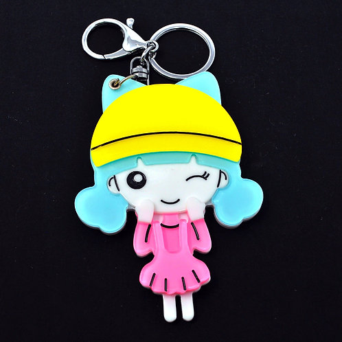 Mirror Keychain - Cute Girl in pink dress