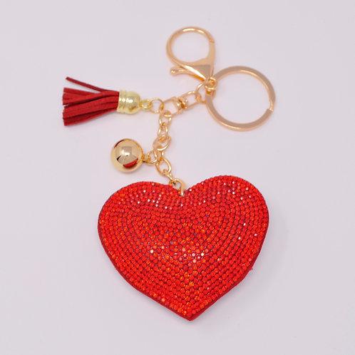 Handbag Charm Keychain - Bling Crystal Heart