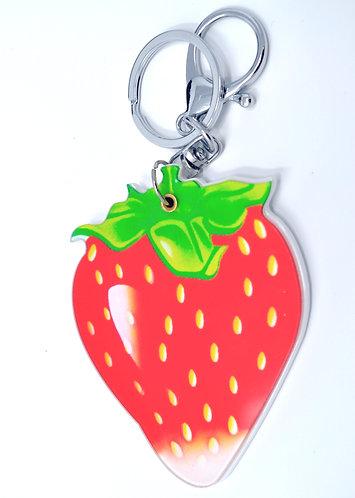 Mirror Keychain - Strawberry Fruit