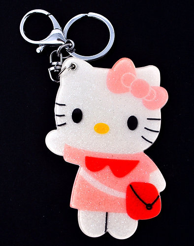 Mirror Keychain - Hello Kitty in pink dress