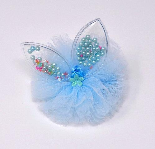 Partially Lined Alligator Clip - Mini Pearl Bunny Ears Tutu - Sky Blue