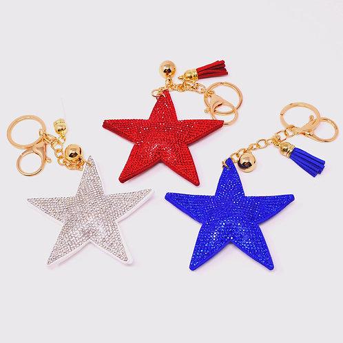 Handbag Charm Keychain - Bling Crystal Star