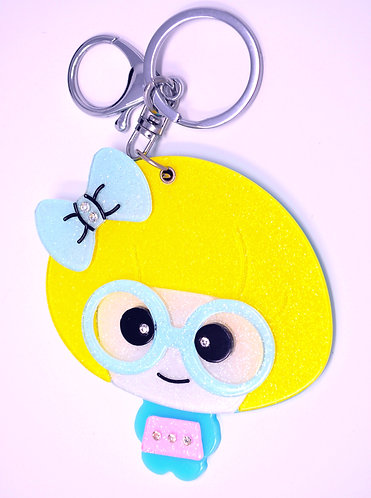 Mirror Keychain - Cute Nerd Girl