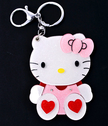 Mirror Keychain - Hello Kitty Dressed in pink and red