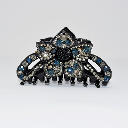 Hair Claw Clip - Hand Crafted Large Flower Rhinestone Clip - Blue & White
