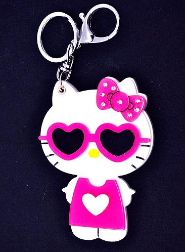 Mirror Keychain - Hello Kitty in summer pink dress w/ sunglasses