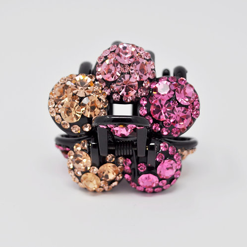 Hair Claw Clip - Hand Crafted Rhinestone Flower Ball Clip - Pink & Gold