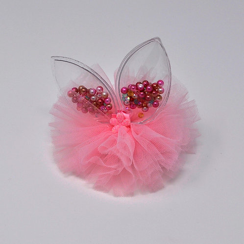 Partially Lined Alligator Clip - Mini Pearl Bunny Ears Tutu - Pink