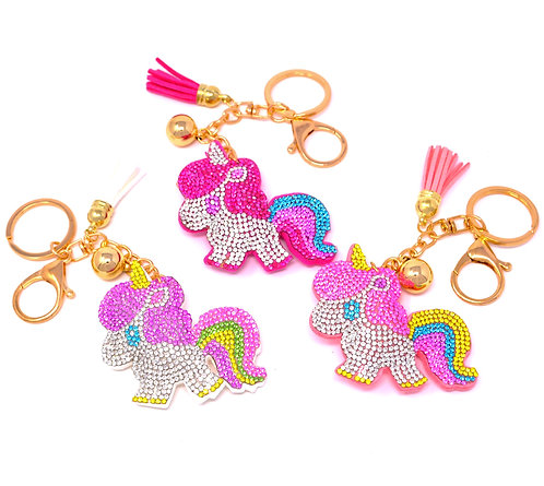 Handbag Charm Keychain - Bling Crystal Cute Unicorn