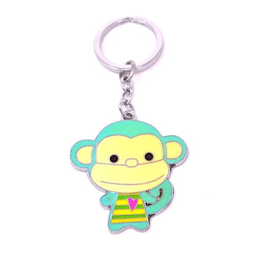 Character Keychain - Cute Monkey - Turquoise