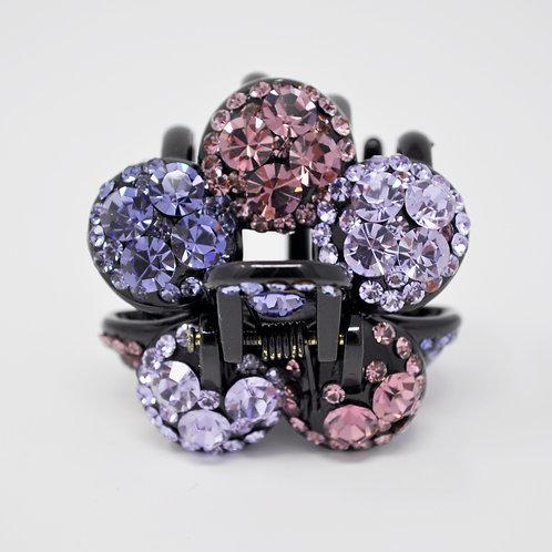 Hair Claw Clip - Hand Crafted Rhinestone Flower Ball Clip - Purple