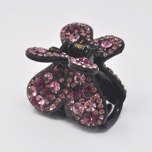 Hair Claw Clip - Hand Crafted Rhinestone Butterfly Clip - Pink