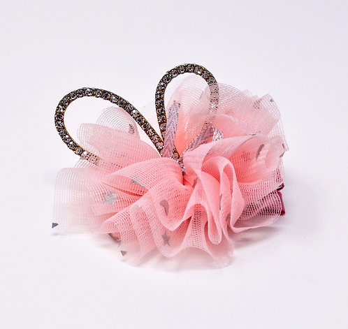 Partially Lined Alligator Clip - Rhinestone Bunny Ear Tutu - Light Pink