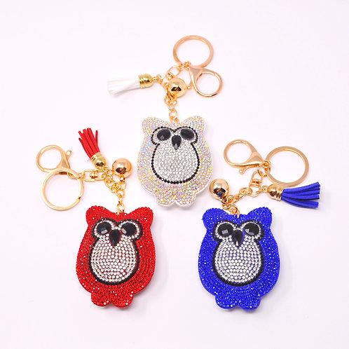 Handbag Charm Keychain - Bling Crystal Owl