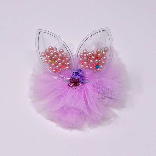 Partially Lined Alligator Clip - Mini Pearl Bunny Ears Tutu - Purple