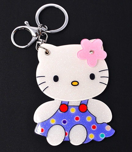 Mirror Keychain - Hello Kitty Dressed in blue w/ polka dots