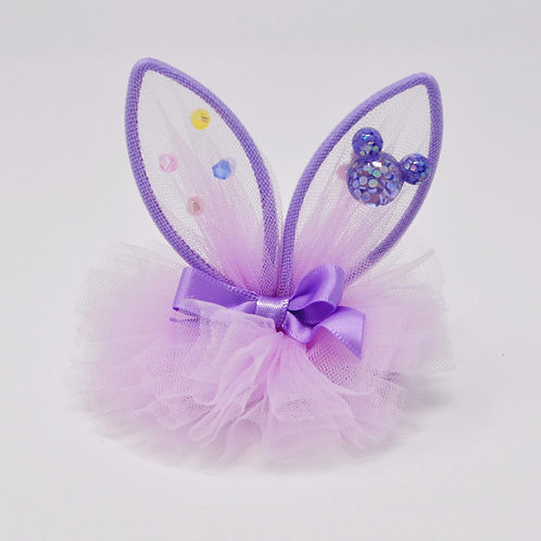 Partially Lined Alligator Clip - Mouse Charm Bunny Ears Tutu - Purple