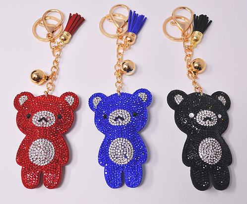 Handbag Charm Keychain - Bling Crystal Teddy Bear
