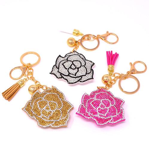 Handbag Charm Keychain - Bling Crystal Flower
