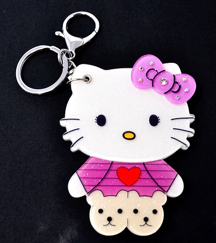 Mirror Keychain - Hello Kitty Dressed in pink w/heart