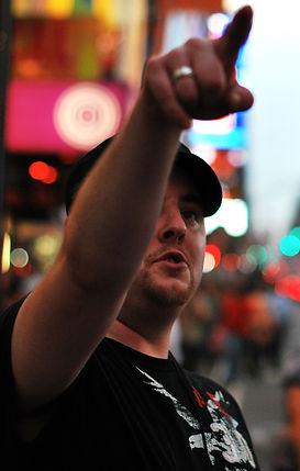 Filmmaker Michael Weinstein in Times Square
