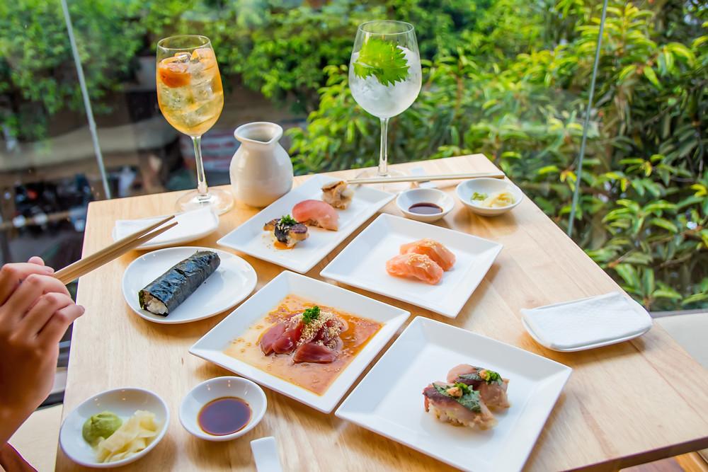 Kasen Omakase: Tuna Sashimi, Saba Nigiri, Salmon Nigiri, Scallop Nigiri, Albacore Nigiri, Foie Gras Nigiri, and Crab Handroll. Kodawari Umeshu Plum Wine and Ume Highball Cocktail