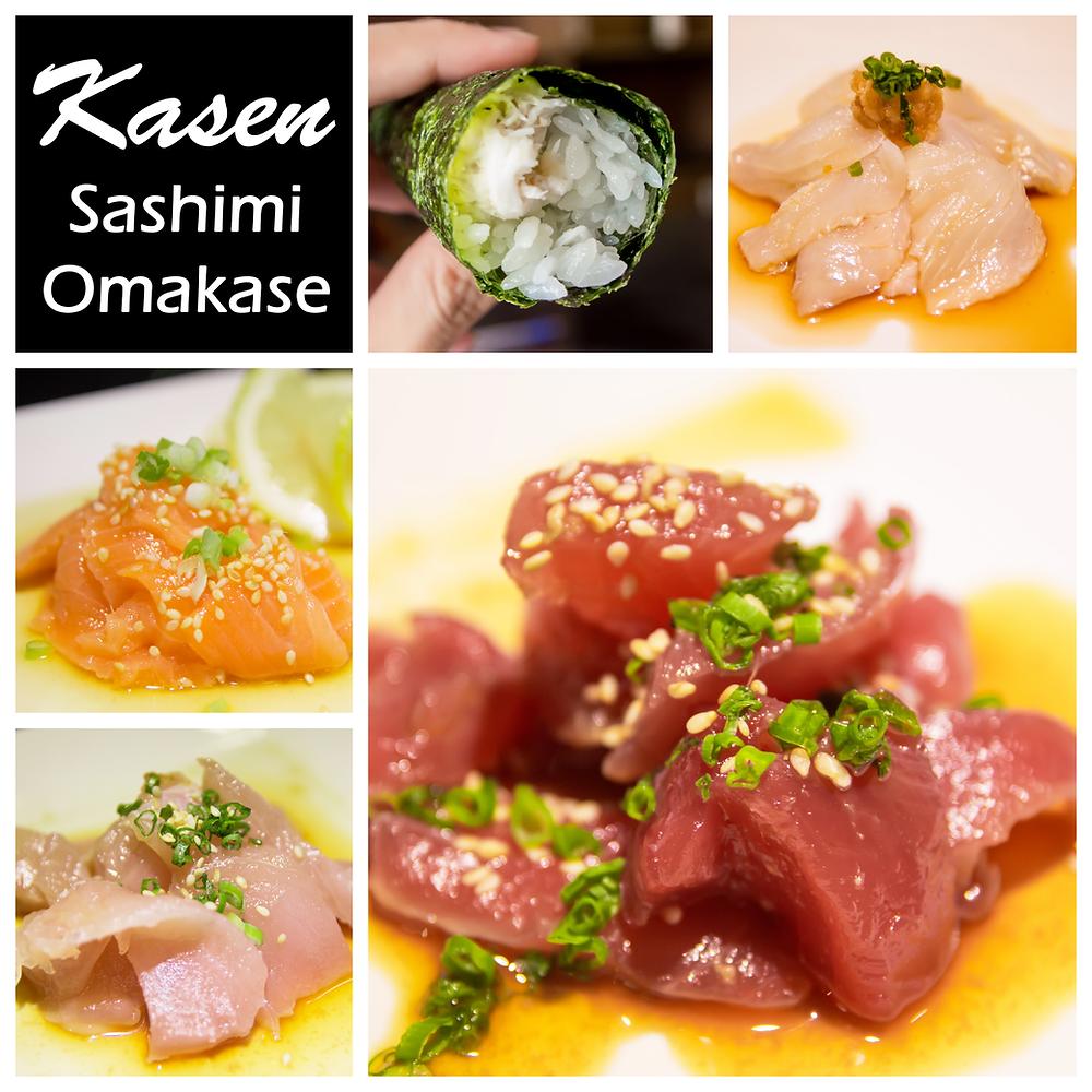 Sashimi Omakase Crab Handroll Tuna Maguro Halibut Flounder Hirame Salmon Albacore