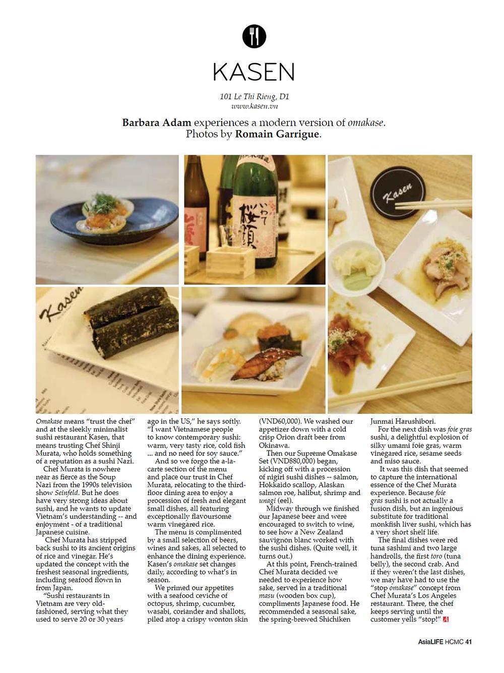 Kasen Omakase Sushi AsiaLIFE Vietnam Saihon Ho Chi Minh City District 1