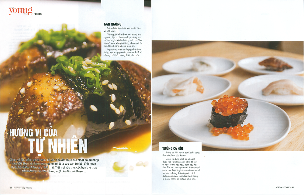 young style magazine featured article kasen foie gras ikura salmon egg nigiri