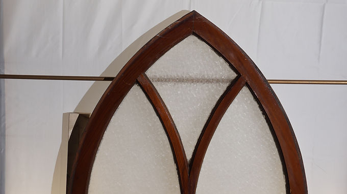 Cathedral Starburst Glass Window Sash Early 1900s