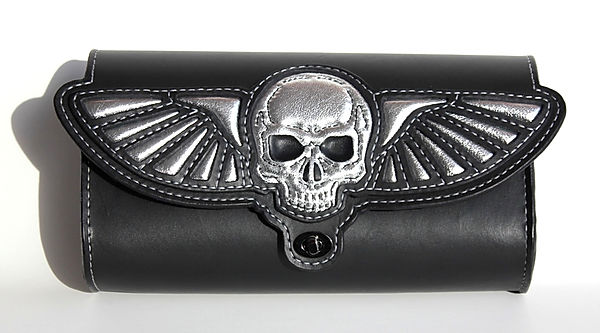 Custom fork toolbag with skull and wings design